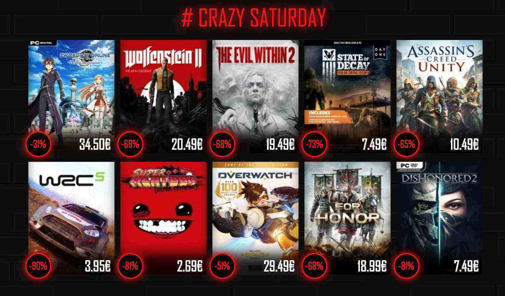 CRAZY SATURDAY bei Instant Gaming - For Honor, Overwatch, Wolfenstein New Colloseus uvm.