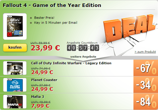 Fallout 4 GOTY, Mafia 3, Planet Coaster und COD Infinite Warfare Legacy in den MMOGA Deals!