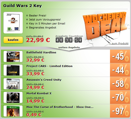 MMOGA Deal mit Guild Wars 2, Battlefield Hardline, Project Cars - Limited Edition und mehr!