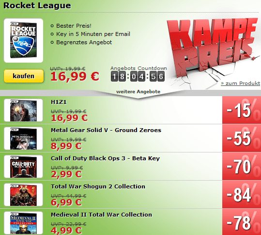 MMOGA Deal mit Rocket League, H1Z1, Metal Gear Solid V und mehr!