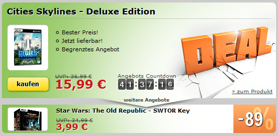 MMOGA Deal mit Star Wars: The Old Republic und Cities Skylines - Deluxe Edition
