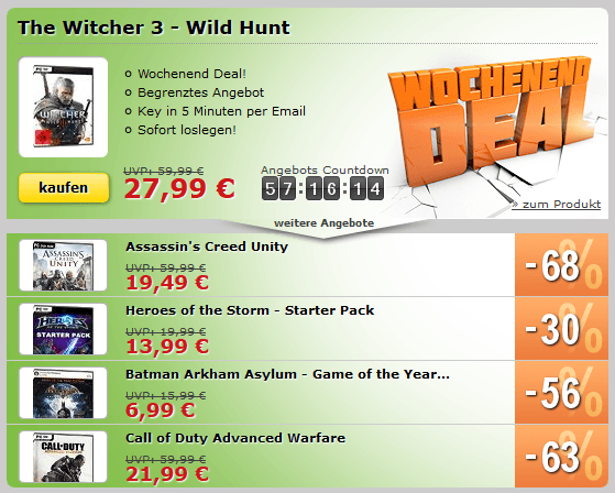 MMOGA Deal mit The Witcher 3 - Wild Hunt, Assassins Creed Unity, Call of Duty Advanced Warfare und mehr!