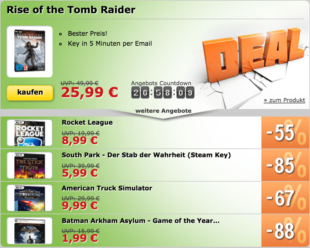 Rise of the Tomb Raider, Rocket League und mehr im Angebot!
