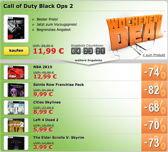 Weekenddeals von MMOGA - COD BO2, Cities Skylines, NBA2K15, Left4Dead 2 uvm.