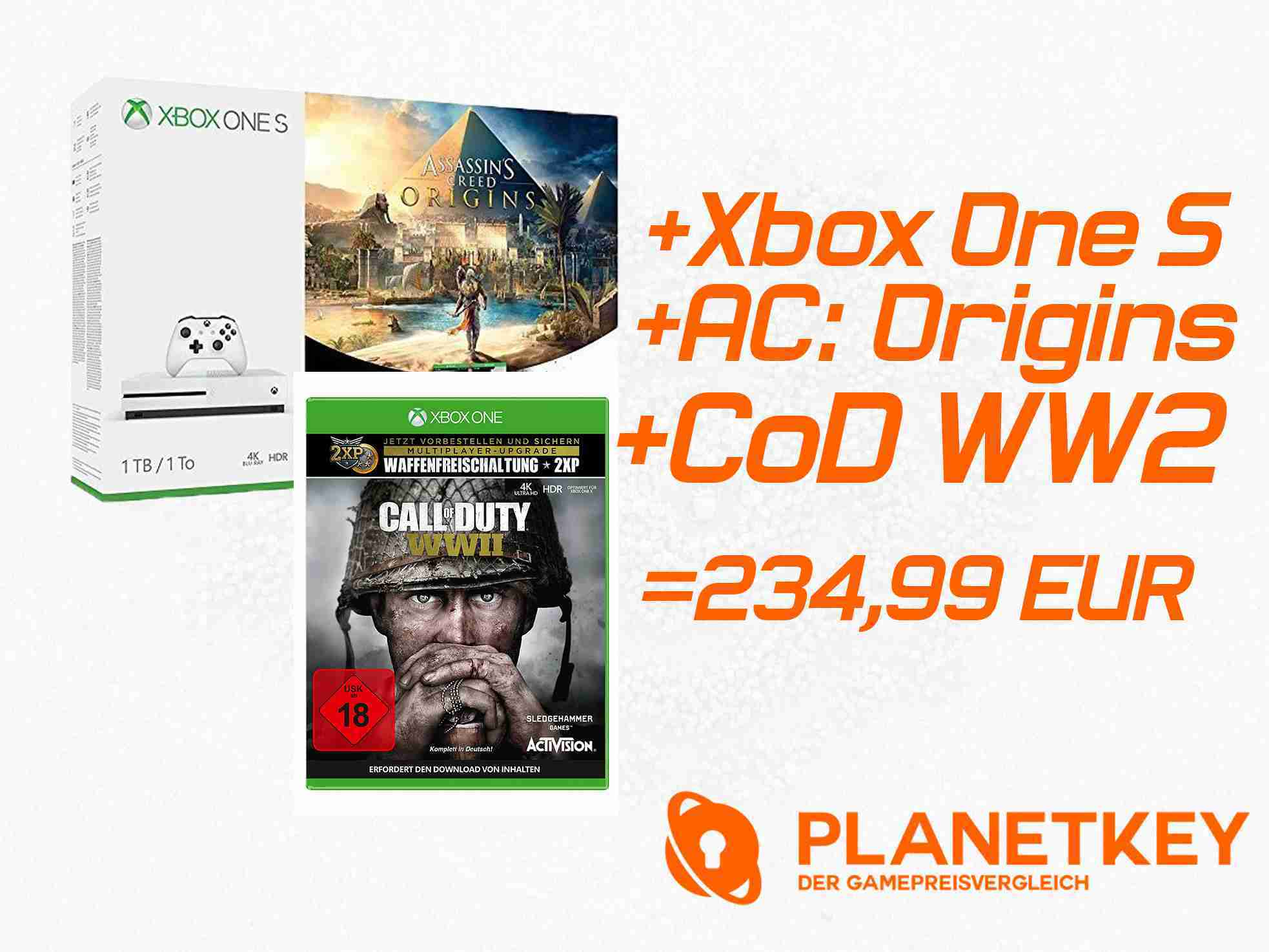 Xbox One S 500GB Konsole - Assassins's Creed Origins Bundle + Call of Duty: WWII für 234,99 EUR inkl. VSK